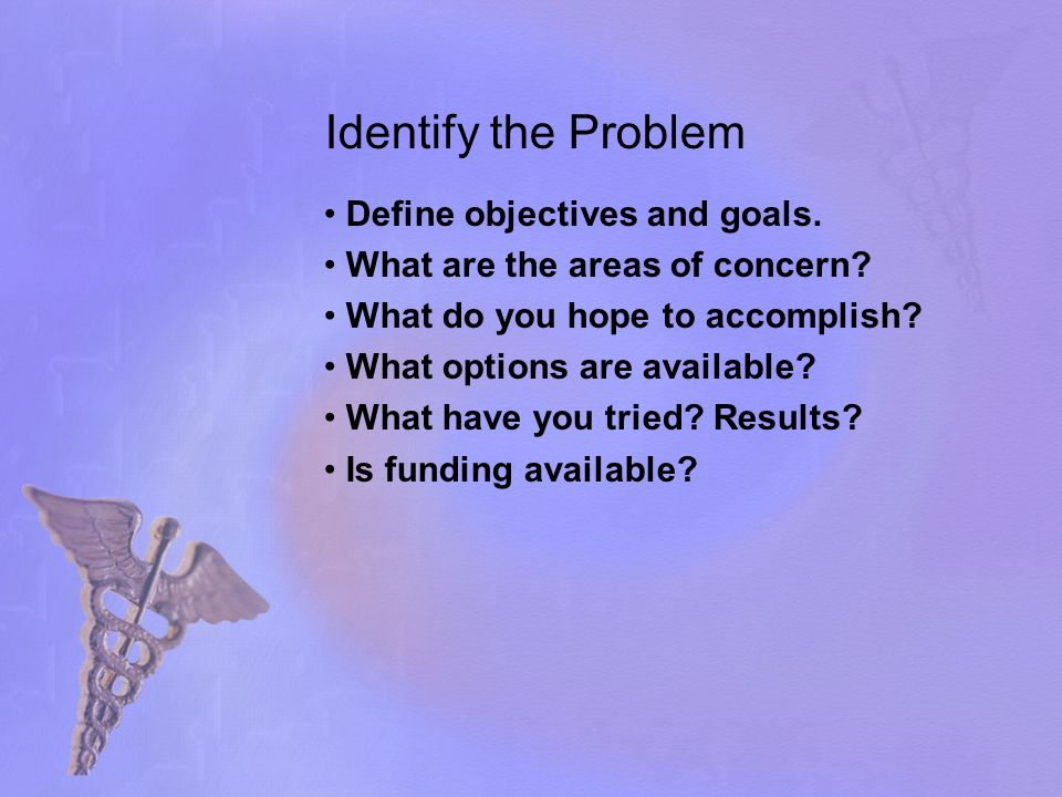 Identify the Problem Define objectives and goals. What are the areas of concern? What do you hope to accomplish? What options are available? What have