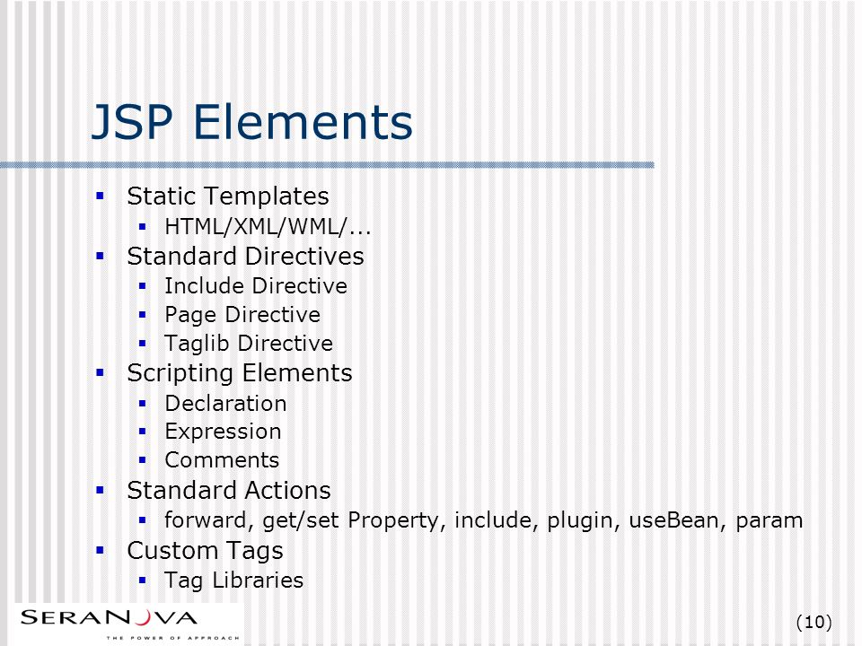 (10) JSP Elements Static Templates HTML/XML/WML/...