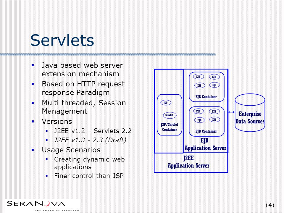 (4) Servlets Java based web server extension mechanism Based on HTTP request- response Paradigm Multi threaded, Session Management Versions J2EE v1.2 – Servlets 2.2 J2EE v1.3 - 2.3 (Draft) Usage Scenarios Creating dynamic web applications Finer control than JSP