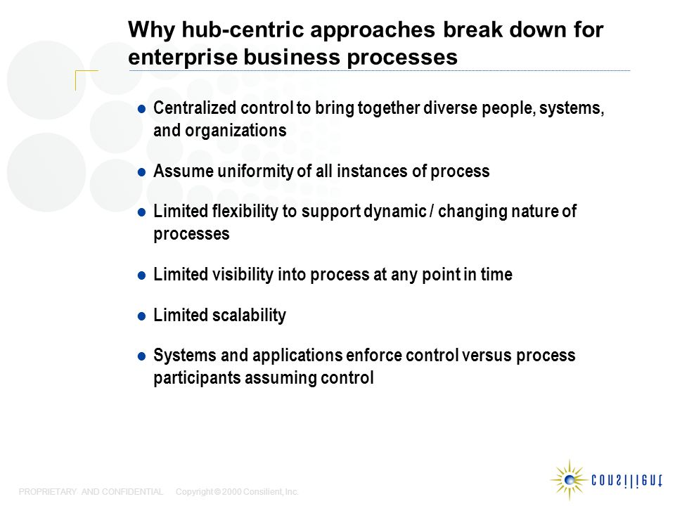 PROPRIETARY AND CONFIDENTIAL Copyright © 2000 Consilient, Inc. Why hub-centric approaches break down for enterprise business processes Centralized con
