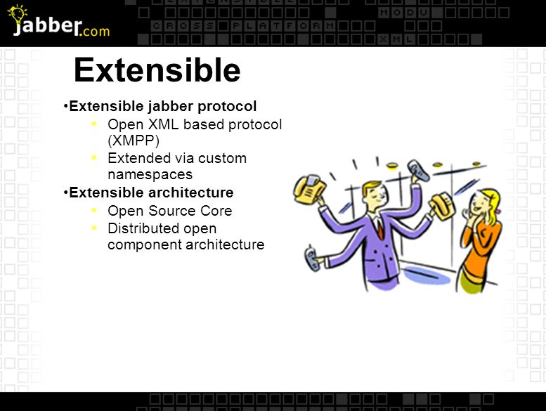 Extensible Extensible jabber protocol Open XML based protocol (XMPP) Extended via custom namespaces Extensible architecture Open Source Core Distributed open component architecture