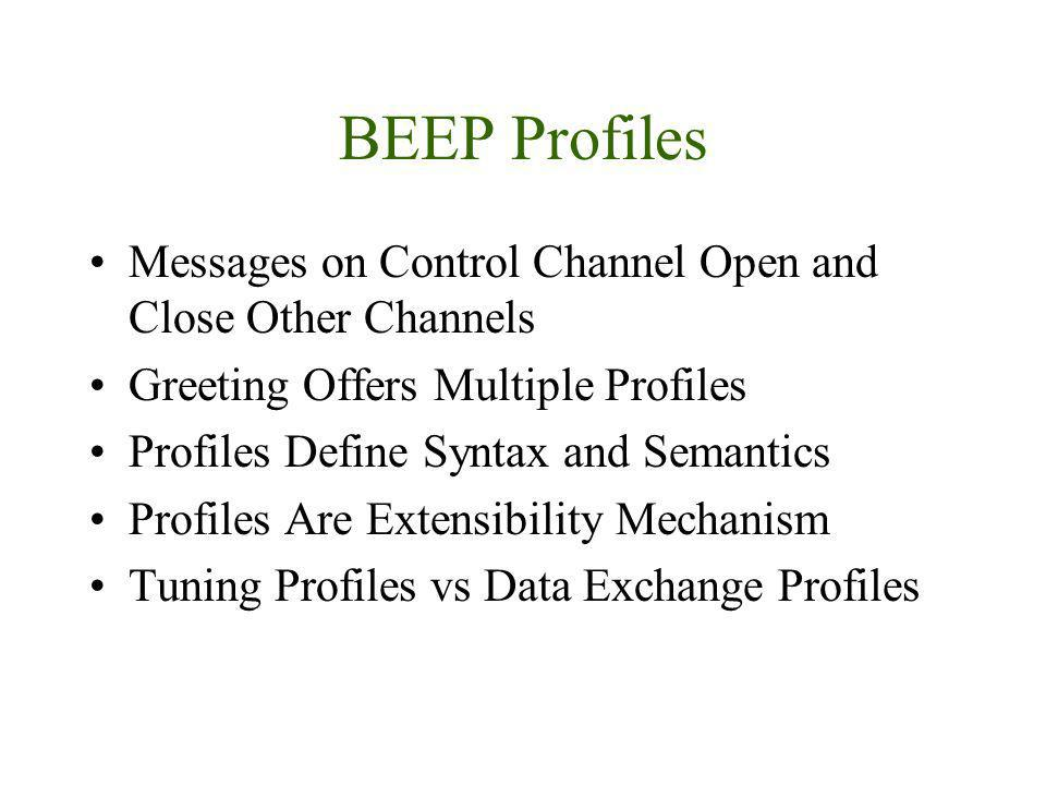 BEEP Profiles Messages on Control Channel Open and Close Other Channels Greeting Offers Multiple Profiles Profiles Define Syntax and Semantics Profile
