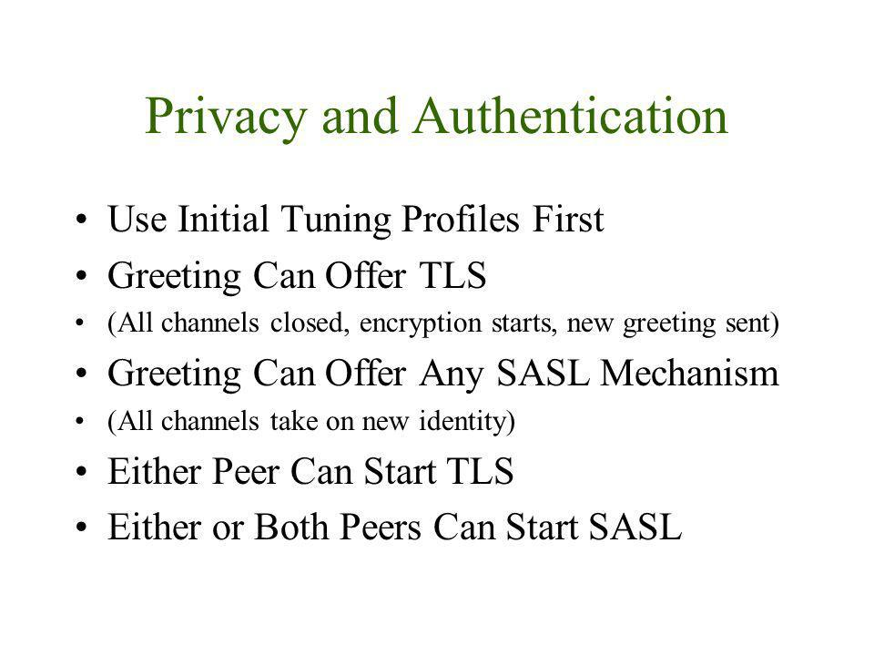 Privacy and Authentication Use Initial Tuning Profiles First Greeting Can Offer TLS (All channels closed, encryption starts, new greeting sent) Greeting Can Offer Any SASL Mechanism (All channels take on new identity) Either Peer Can Start TLS Either or Both Peers Can Start SASL