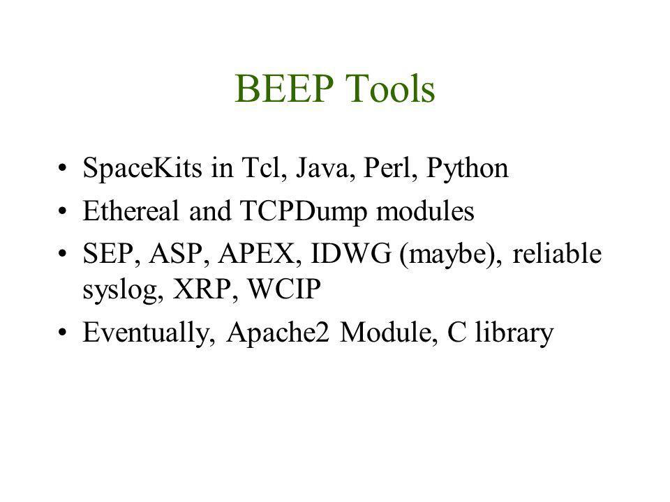 BEEP Tools SpaceKits in Tcl, Java, Perl, Python Ethereal and TCPDump modules SEP, ASP, APEX, IDWG (maybe), reliable syslog, XRP, WCIP Eventually, Apac