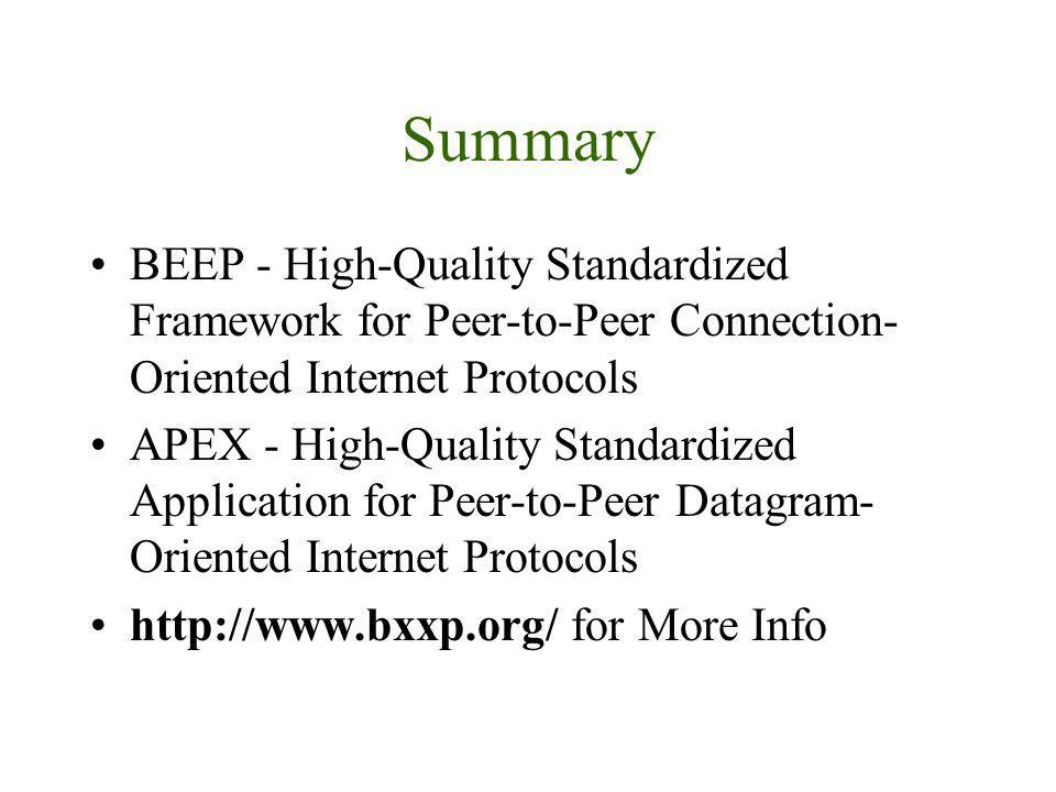 Summary BEEP - High-Quality Standardized Framework for Peer-to-Peer Connection- Oriented Internet Protocols APEX - High-Quality Standardized Applicati