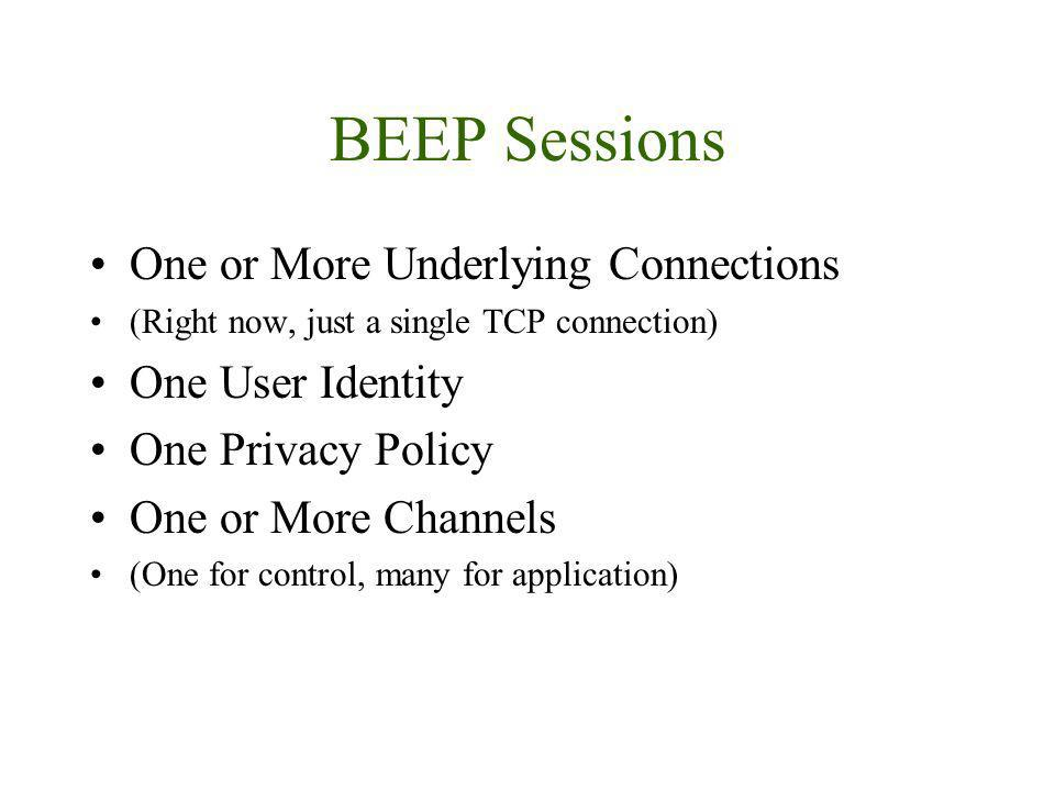 BEEP Sessions One or More Underlying Connections (Right now, just a single TCP connection) One User Identity One Privacy Policy One or More Channels (One for control, many for application)