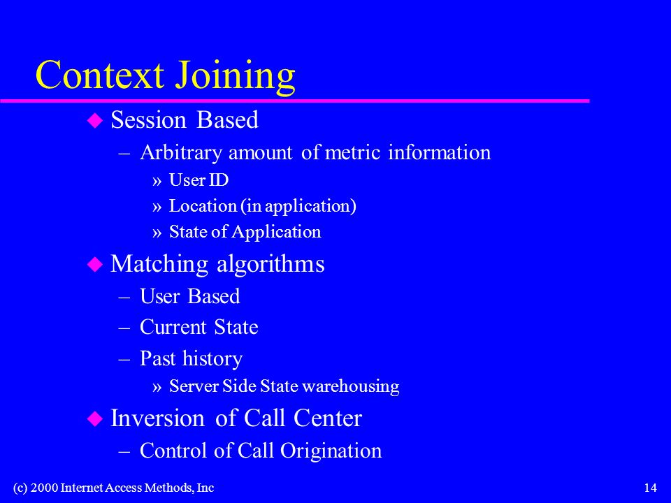 (c) 2000 Internet Access Methods, Inc14 Context Joining u Session Based –Arbitrary amount of metric information »User ID »Location (in application) »State of Application u Matching algorithms –User Based –Current State –Past history »Server Side State warehousing u Inversion of Call Center –Control of Call Origination