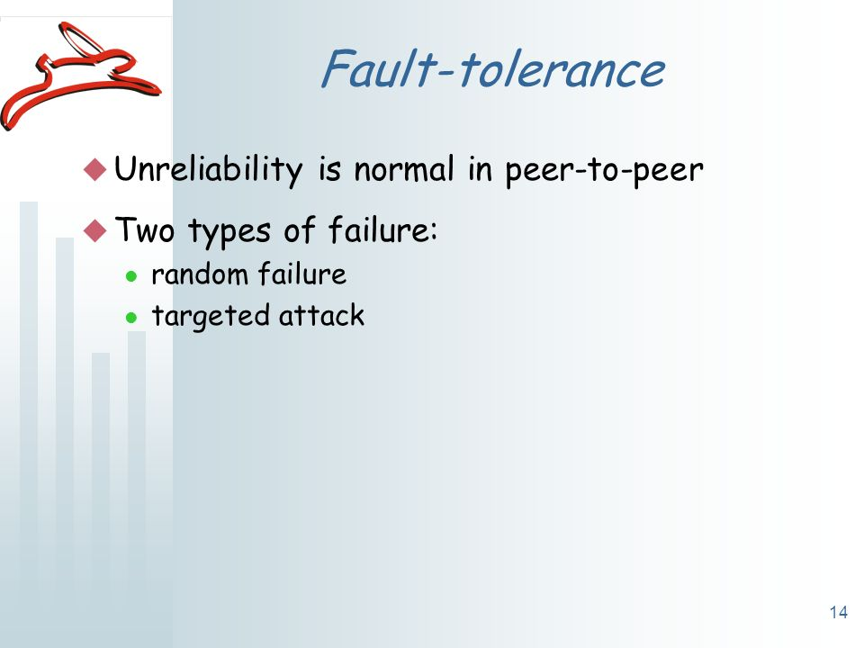 14 Fault-tolerance u Unreliability is normal in peer-to-peer u Two types of failure: l random failure l targeted attack