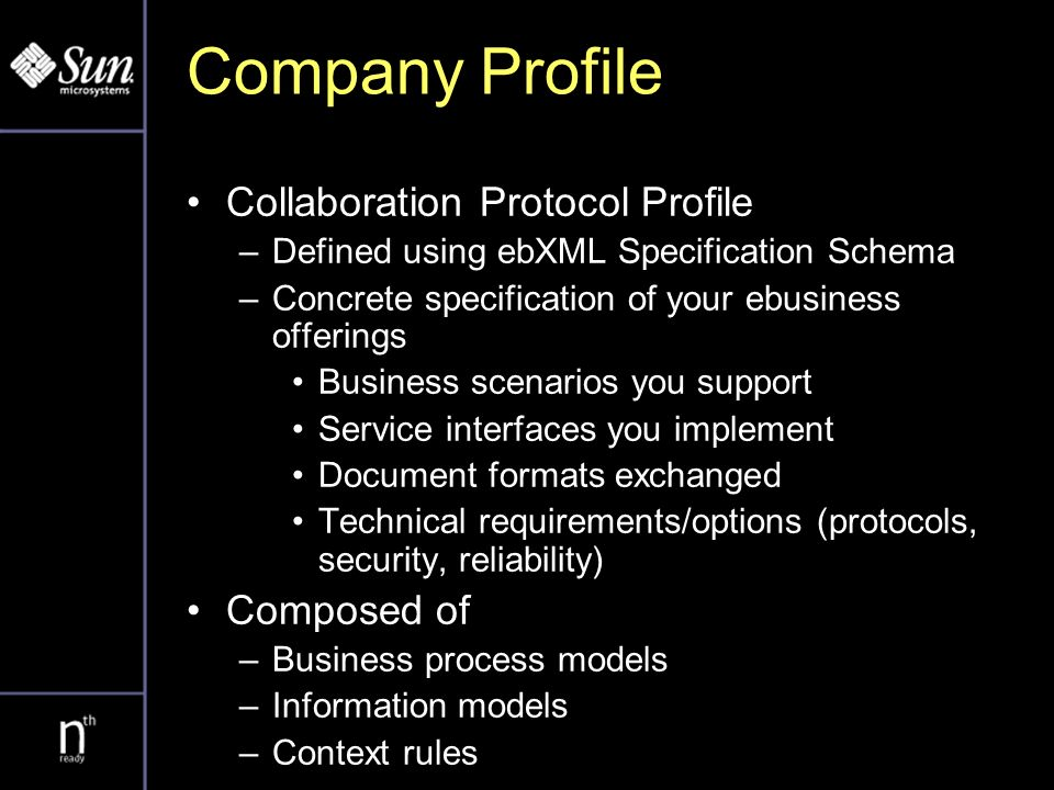 Company Profile Collaboration Protocol Profile –Defined using ebXML Specification Schema –Concrete specification of your ebusiness offerings Business scenarios you support Service interfaces you implement Document formats exchanged Technical requirements/options (protocols, security, reliability) Composed of –Business process models –Information models –Context rules