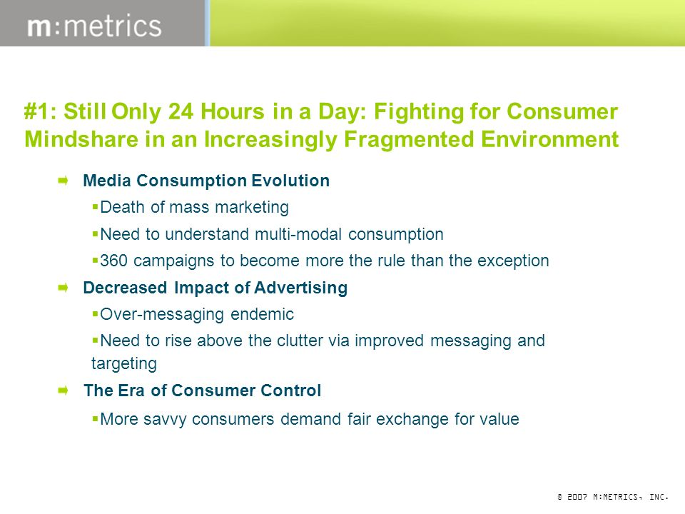 © 2007 M:METRICS, INC. #1: Still Only 24 Hours in a Day: Fighting for Consumer Mindshare in an Increasingly Fragmented Environment Media Consumption E