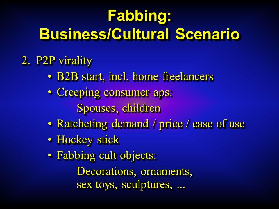 Fabbing: Business/Cultural Scenario 2.P2P virality B2B start, incl.