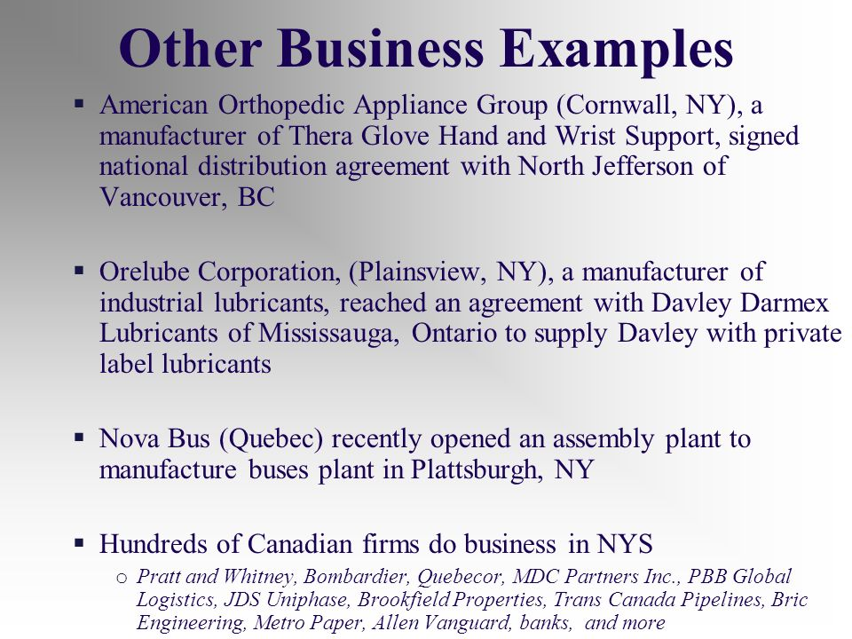 American Orthopedic Appliance Group (Cornwall, NY), a manufacturer of Thera Glove Hand and Wrist Support, signed national distribution agreement with North Jefferson of Vancouver, BC Orelube Corporation, (Plainsview, NY), a manufacturer of industrial lubricants, reached an agreement with Davley Darmex Lubricants of Mississauga, Ontario to supply Davley with private label lubricants Nova Bus (Quebec) recently opened an assembly plant to manufacture buses plant in Plattsburgh, NY Hundreds of Canadian firms do business in NYS o Pratt and Whitney, Bombardier, Quebecor, MDC Partners Inc., PBB Global Logistics, JDS Uniphase, Brookfield Properties, Trans Canada Pipelines, Bric Engineering, Metro Paper, Allen Vanguard, banks, and more Other Business Examples