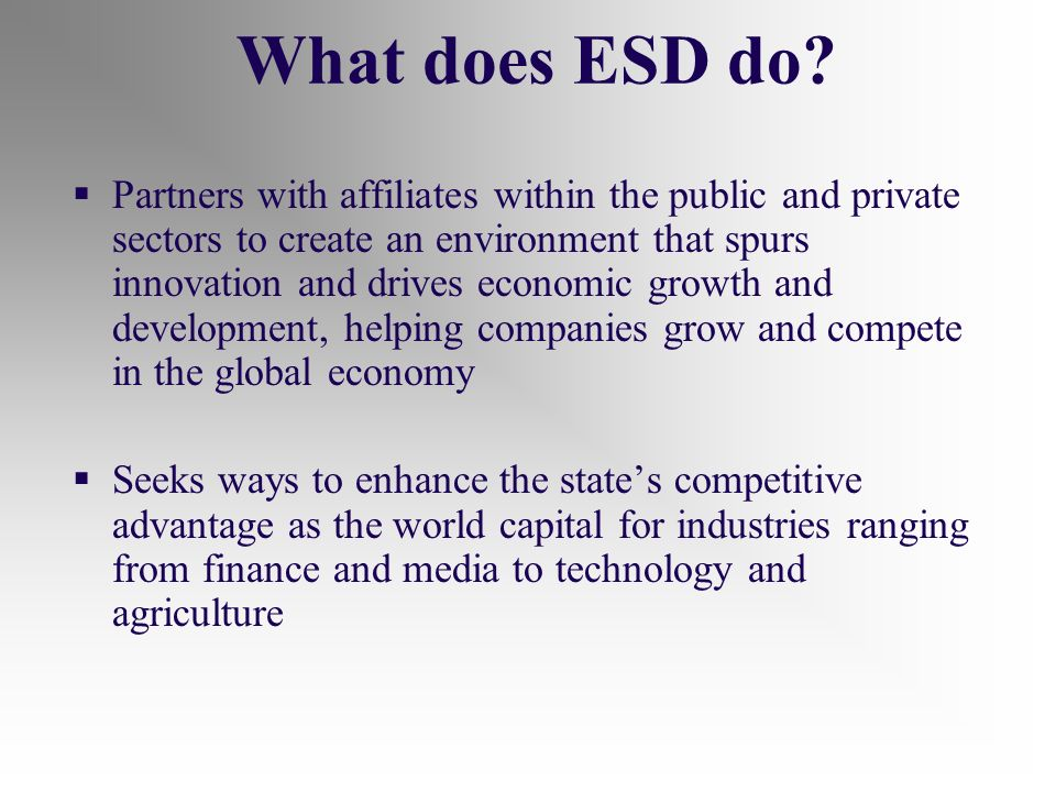What does ESD do.