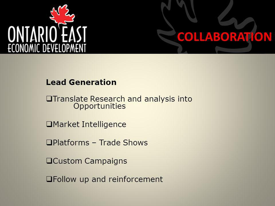 Lead Generation Translate Research and analysis into Opportunities Market Intelligence Platforms – Trade Shows Custom Campaigns Follow up and reinforcement COLLABORATION
