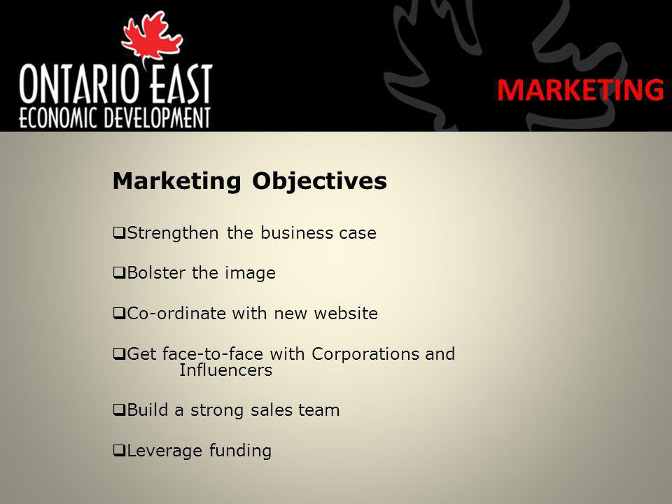 Marketing Objectives Strengthen the business case Bolster the image Co-ordinate with new website Get face-to-face with Corporations and Influencers Build a strong sales team Leverage funding MARKETING