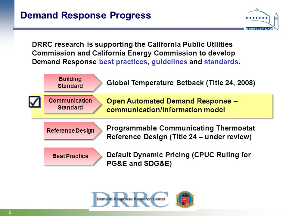 2 Demand Response Progress DRRC research is supporting the California Public Utilities Commission and California Energy Commission to develop Demand R