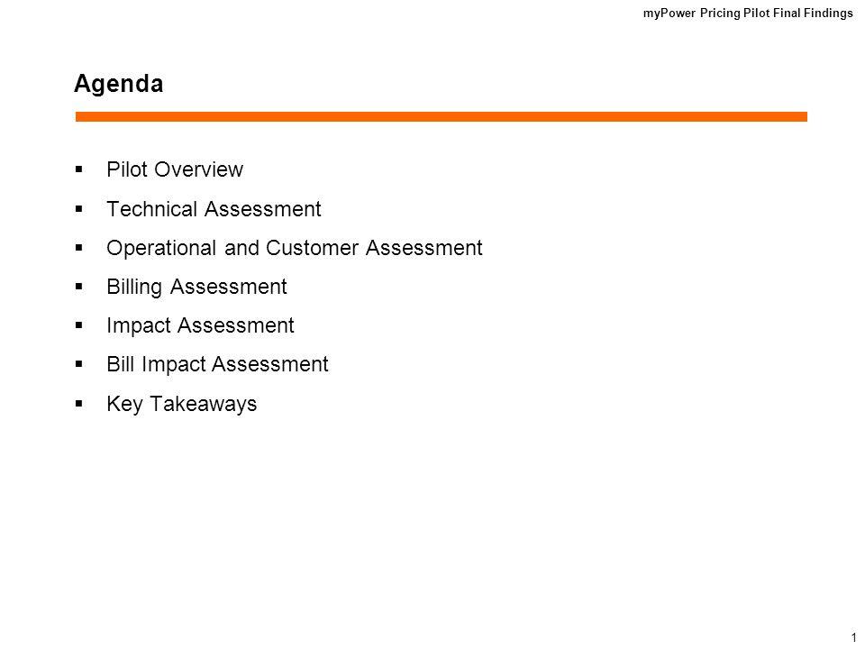 myPower Pricing Pilot Final Findings 1 Agenda Pilot Overview Technical Assessment Operational and Customer Assessment Billing Assessment Impact Assessment Bill Impact Assessment Key Takeaways