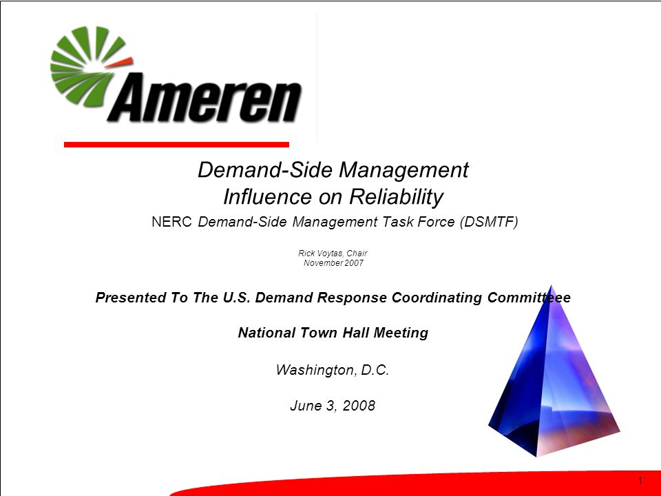 1 Demand-Side Management Influence on Reliability NERC Demand-Side Management Task Force (DSMTF) Rick Voytas, Chair November 2007 Presented To The U.S.