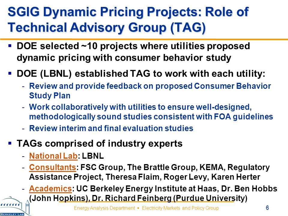 Energy Analysis Department Electricity Markets and Policy Group SGIG Dynamic Pricing Projects: Data Collection and Reporting Utilities conducting consumer behavior studies on their dynamic pricing projects will collect & provide: Project Data -Customer-level hourly interval consumption data -Customer characteristics Historical Data -Hourly (or monthly) customer-level data -Ideally covers period 12-18 months prior to commencement of study Benefits and Metrics Data -Customer-level (or customer-cohort level) impact metrics -Customer (or customer-cohort) characteristics 7