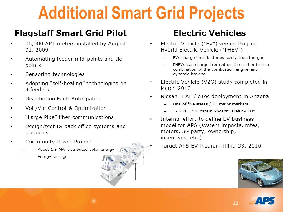11 Additional Smart Grid Projects Flagstaff Smart Grid Pilot 36,000 AMI meters installed by August 31, 2009 Automating feeder mid-points and tie- points Sensoring technologies Adopting self-healing technologies on 4 feeders Distribution Fault Anticipation Volt/Var Control & Optimization Large Pipe fiber communications Design/test IS back office systems and protocols Community Power Project – About 1.5 MW distributed solar energy – Energy storage Electric Vehicles Electric Vehicle (EV) versus Plug-in Hybrid Electric Vehicle (PHEV) – EVs charge their batteries solely from the grid – PHEVs can charge from either the grid or from a combination of the combustion engine and dynamic braking Electric Vehicle (V2G) study completed in March 2010 Nissan LEAF / eTec deployment in Arizona – One of five states / 11 major markets – ~ cars in Phoenix area by EOY Internal effort to define EV business model for APS (system impacts, rates, meters, 3 rd party, ownership, incentives, etc.) Target APS EV Program filing Q3, 2010