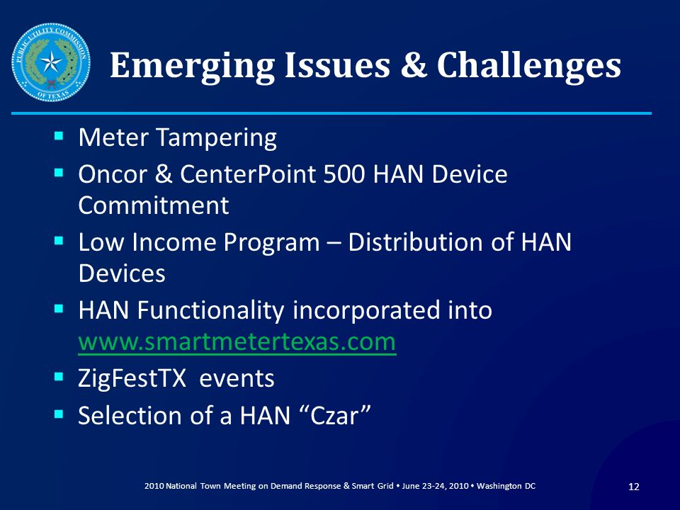 Emerging Issues & Challenges Meter Tampering Oncor & CenterPoint 500 HAN Device Commitment Low Income Program – Distribution of HAN Devices HAN Functi