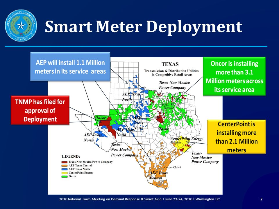 Smart Meter Deployment 2010 National Town Meeting on Demand Response & Smart Grid June 23-24, 2010 Washington DC 7