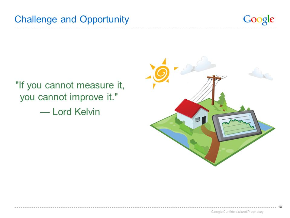Google Confidential and Proprietary 10 Challenge and Opportunity If you cannot measure it, you cannot improve it. Lord Kelvin