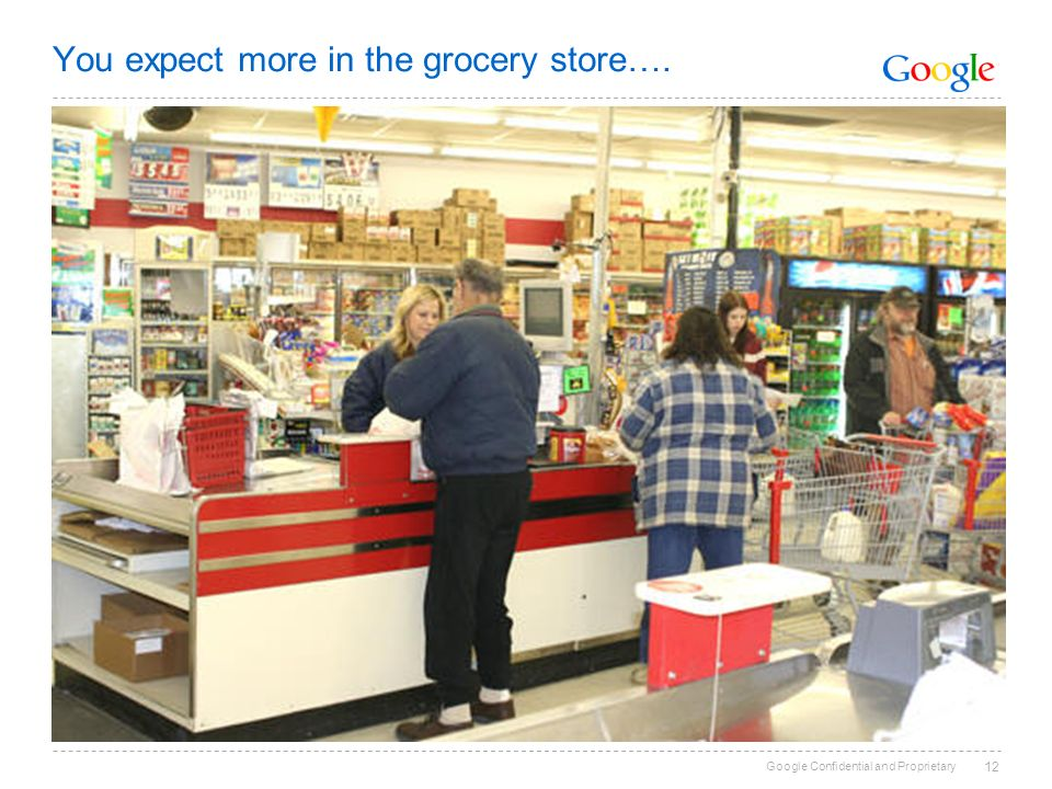 Google Confidential and Proprietary You expect more in the grocery store…. 12