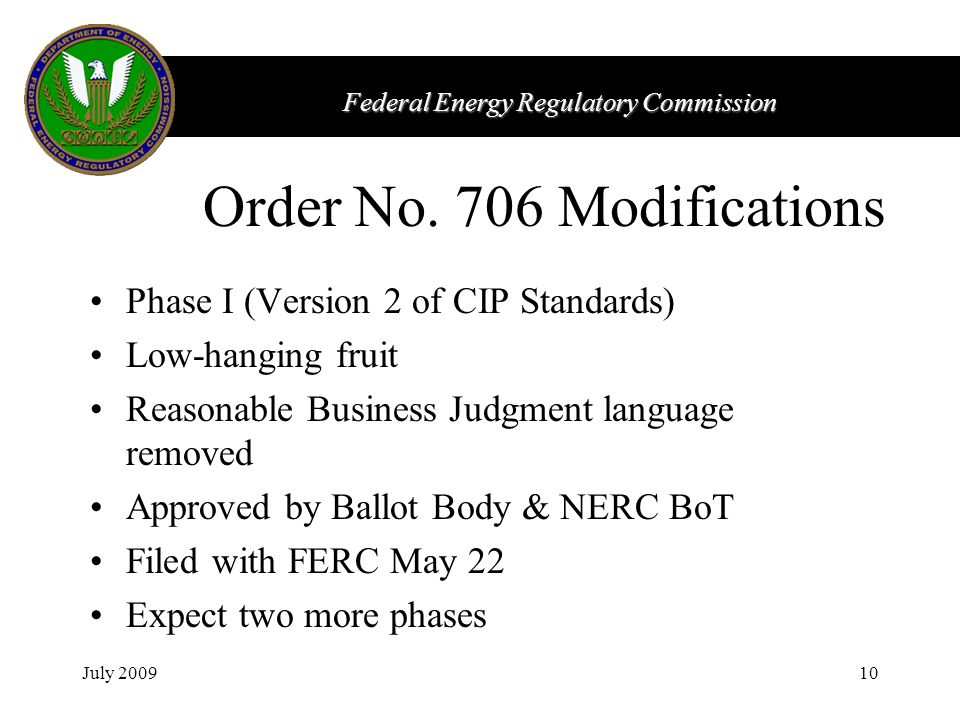 Federal Energy Regulatory Commission July 200910 Order No.