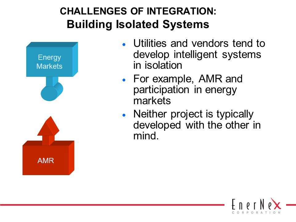 CHALLENGES OF INTEGRATION: Building Isolated Systems Utilities and vendors tend to develop intelligent systems in isolation For example, AMR and participation in energy markets Neither project is typically developed with the other in mind.