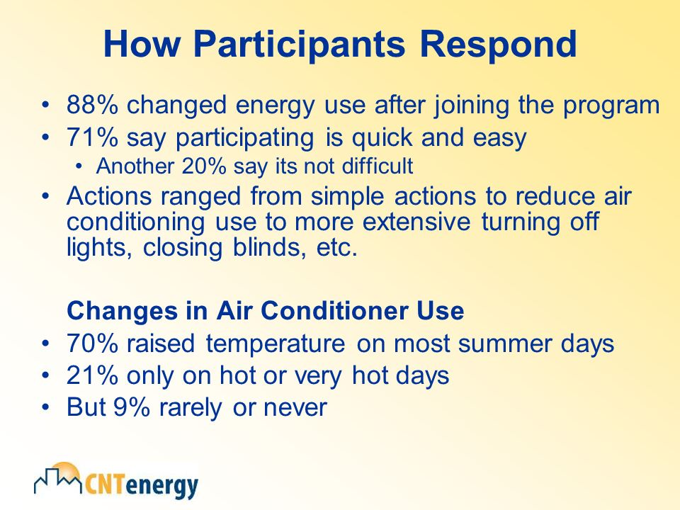 How Participants Respond 88% changed energy use after joining the program 71% say participating is quick and easy Another 20% say its not difficult Actions ranged from simple actions to reduce air conditioning use to more extensive turning off lights, closing blinds, etc.