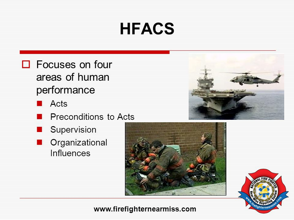 HFACS Focuses on four areas of human performance Acts Preconditions to Acts Supervision Organizational Influences www.firefighternearmiss.com