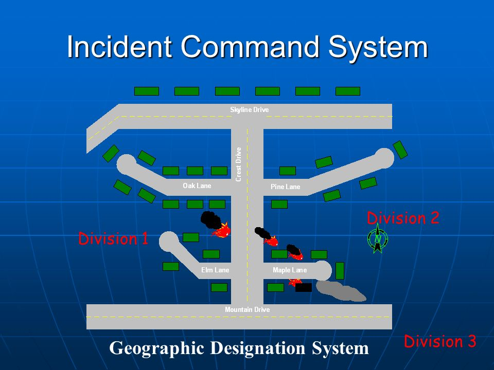Incident Command System Geographic Designation System Division 1 Division 2 Division 3