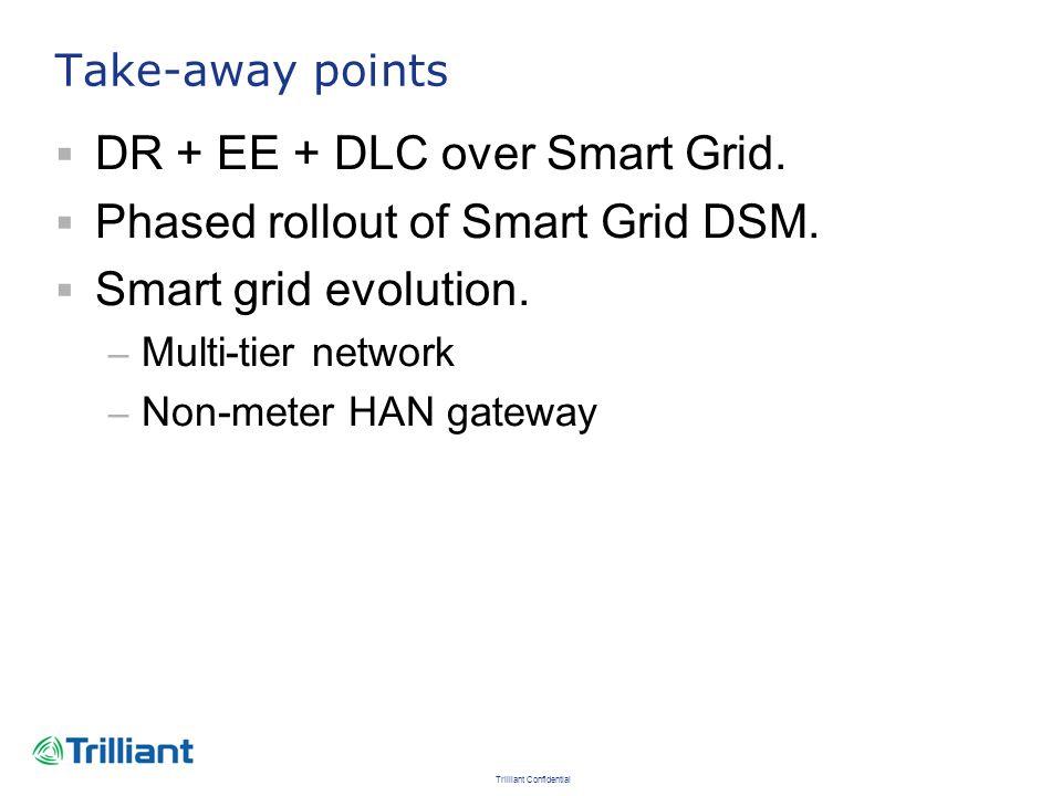 Trilliant Confidential Take-away points DR + EE + DLC over Smart Grid. Phased rollout of Smart Grid DSM. Smart grid evolution. – Multi-tier network –