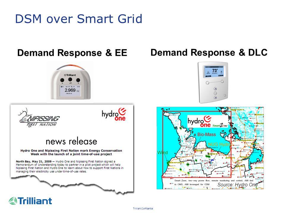 Trilliant Confidential DSM over Smart Grid Demand Response & EE Demand Response & DLC Source: Hydro One