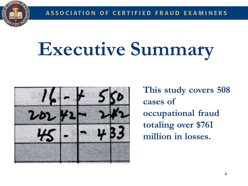15 Introduction Occupational fraud and abuse is a widespread problem that affects practically every organization, regardless of size, location, or industry.