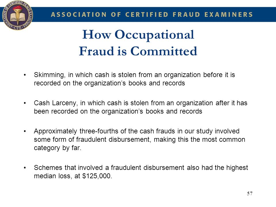 57 How Occupational Fraud is Committed Skimming, in which cash is stolen from an organization before it is recorded on the organizations books and rec