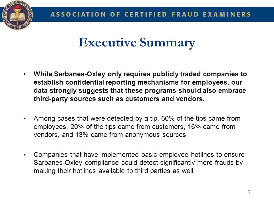 8 Executive Summary More effective internal controls are needed to detect fraud.