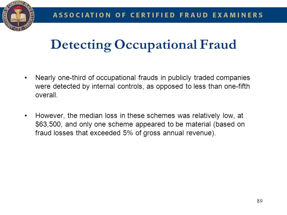 89 Detecting Occupational Fraud Nearly one-third of occupational frauds in publicly traded companies were detected by internal controls, as opposed to