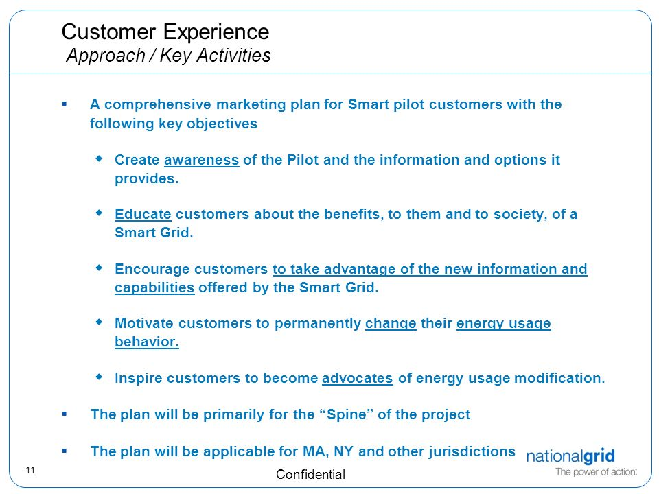 11 Confidential Customer Experience Approach / Key Activities A comprehensive marketing plan for Smart pilot customers with the following key objectives Create awareness of the Pilot and the information and options it provides.