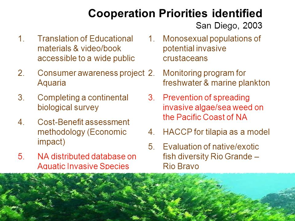 1.Translation of Educational materials & video/book accessible to a wide public 2.Consumer awareness project Aquaria 3.Completing a continental biolog