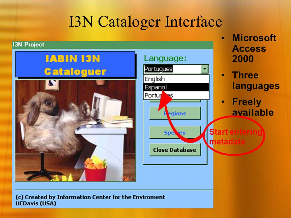 I3N Cataloger Interface Microsoft Access 2000 Three languages Freely available Start entering metadata