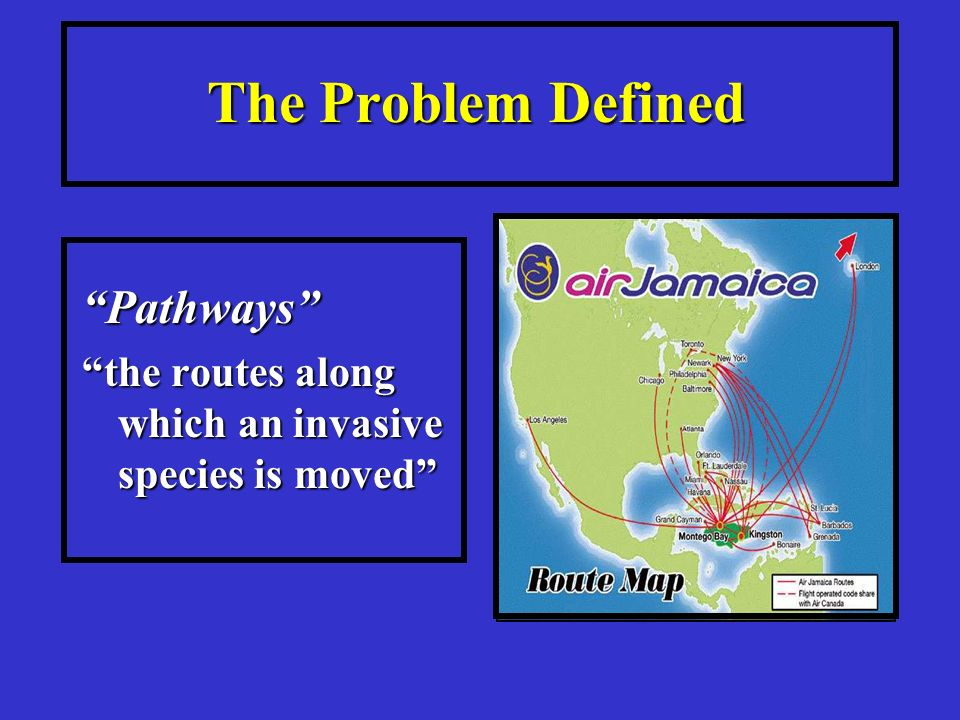 The Problem Defined Pathways the routes along which an invasive species is moved