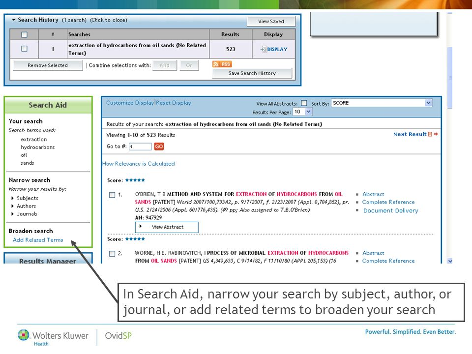 In Search Aid, narrow your search by subject, author, or journal, or add related terms to broaden your search