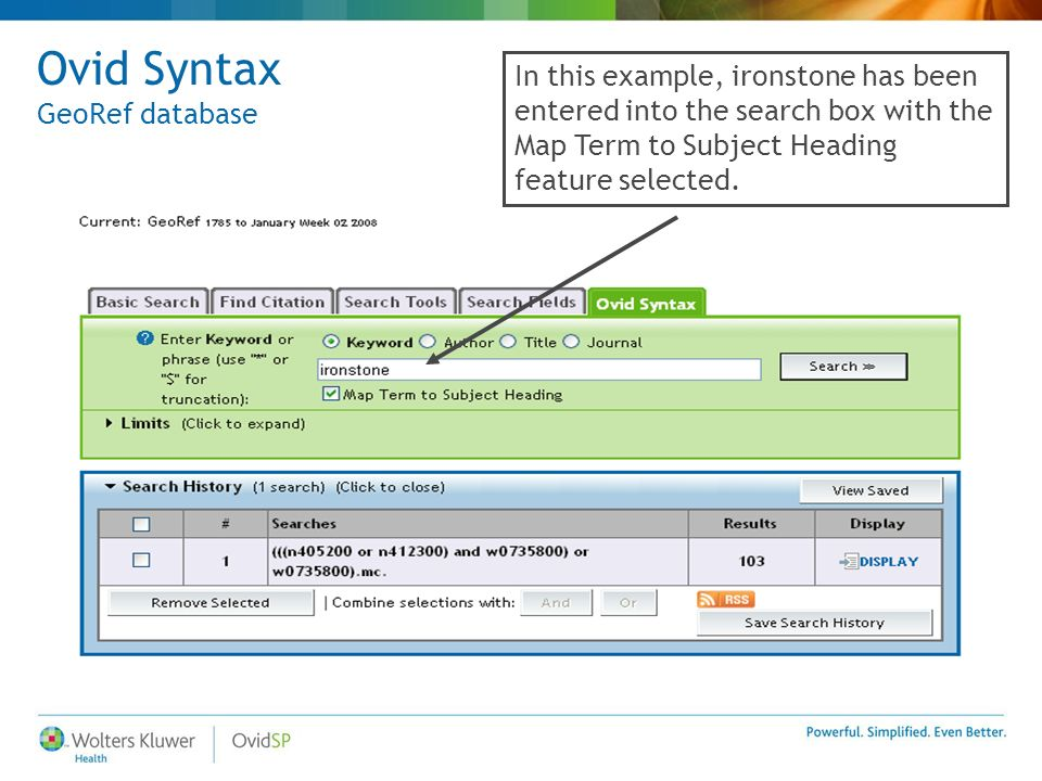 Ovid Syntax GeoRef database In this example, ironstone has been entered into the search box with the Map Term to Subject Heading feature selected.