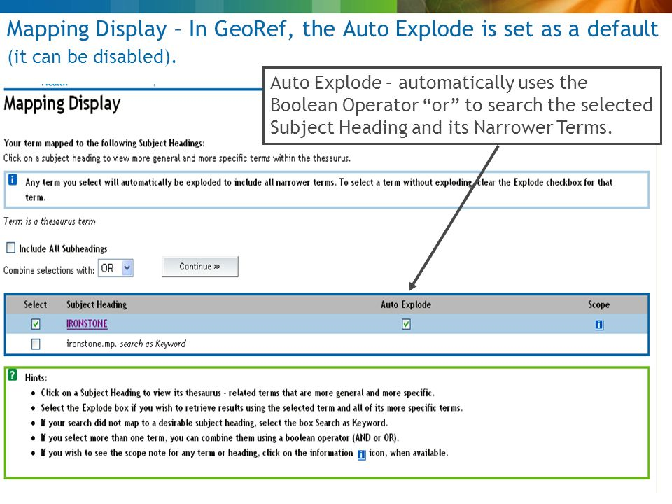 Mapping Display – In GeoRef, the Auto Explode is set as a default (it can be disabled).