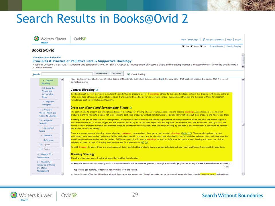 29 Search Results in Books@Ovid 2