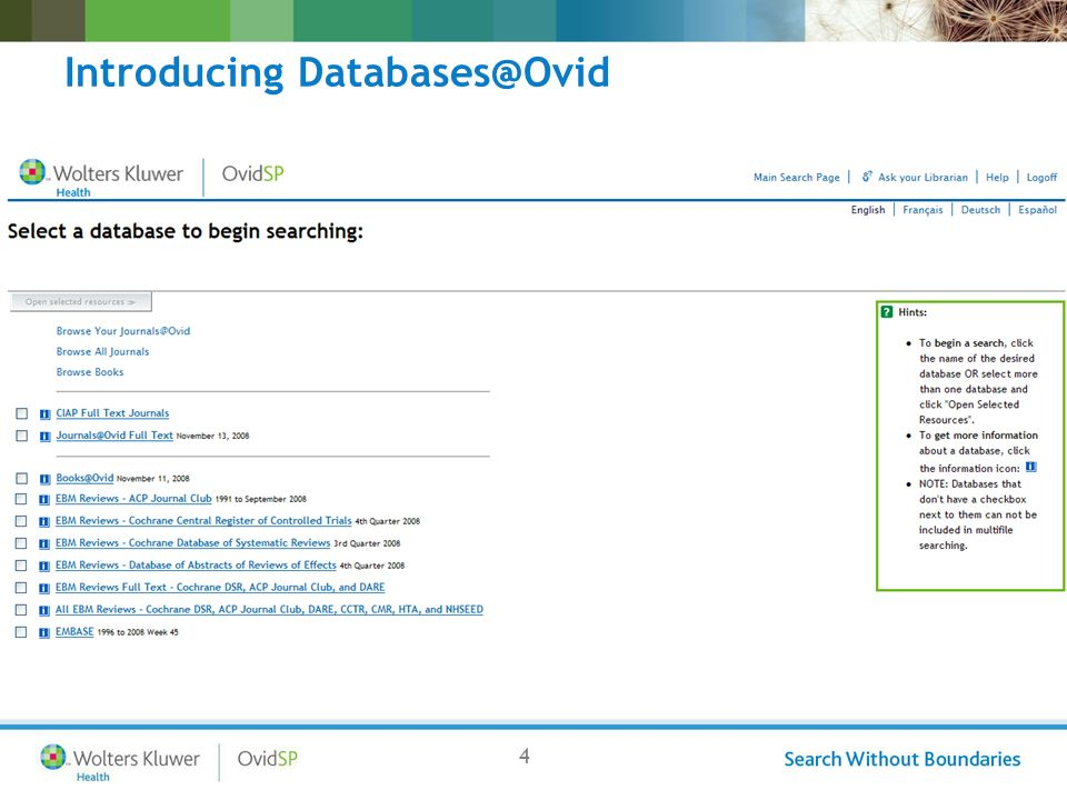 4 Introducing Databases@Ovid