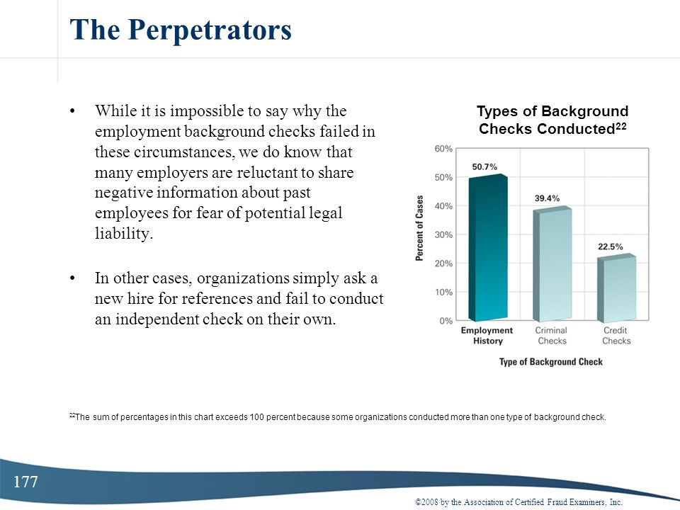 177 The Perpetrators While it is impossible to say why the employment background checks failed in these circumstances, we do know that many employers