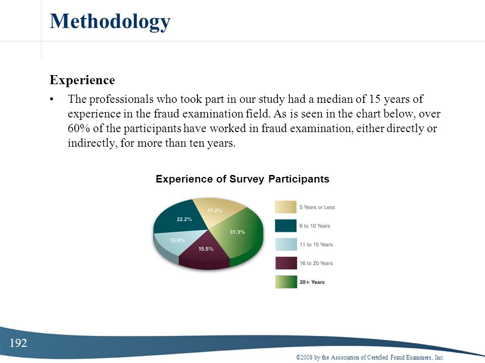 192 Methodology Experience The professionals who took part in our study had a median of 15 years of experience in the fraud examination field. As is s